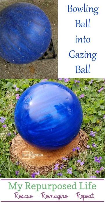 gazing ball made from a bowling ball MyREpurposedLife