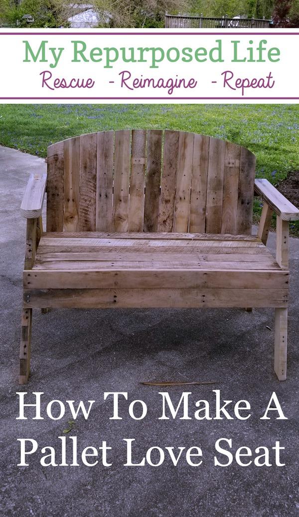 how to make a diy pallet love seat bench MyRepurposedLife