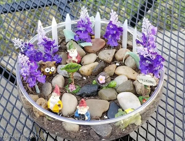 patio tabletop fairy garden MyRepurposedLife
