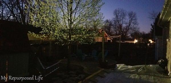 solar light texas lampposts surround fire pit
