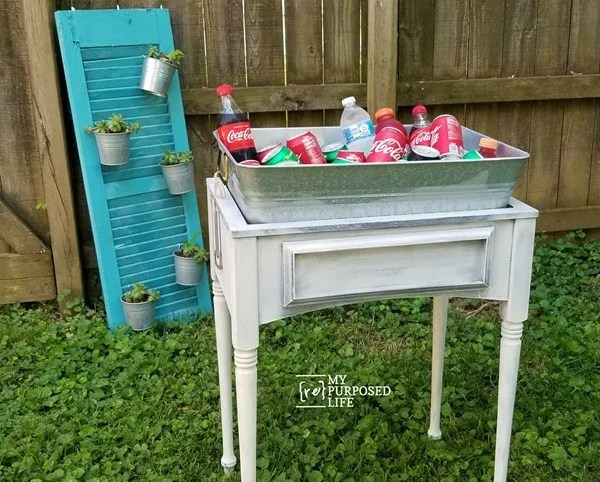 drink station galvanized tub and sewing machine cabinet MyRepurposedLife