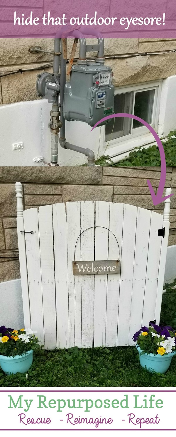 how to disguise an outdoor eyesore such as a gas meter with a faux garden gate MyRepurposedLife