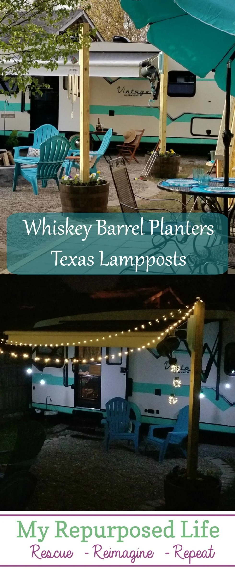 Whiskey Barrel Light Post |Tiny Solar Lights Tips for securing 4x4's in a whiskey barrel, with the cutest solar lights! No electricity needed! #texaslamppost #myrepurposedlife #outdoor #living #lighting #solar #camper #backyard via @repurposedlife