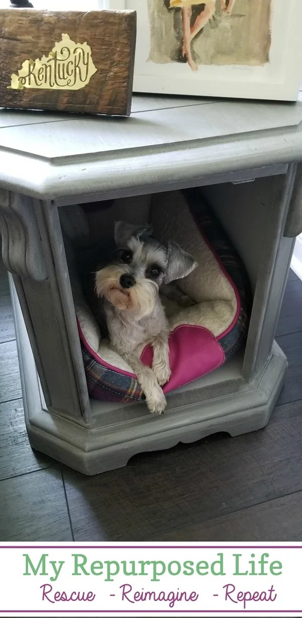 make a pet hideaway out of a thrift store side table MyRepurposedLife