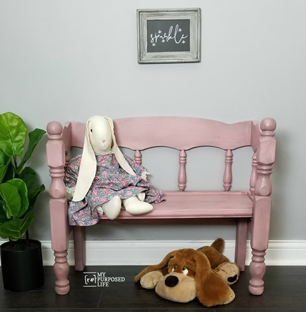 pink glazed small wooden bench for dolls or toddlers MyRepurposedLife