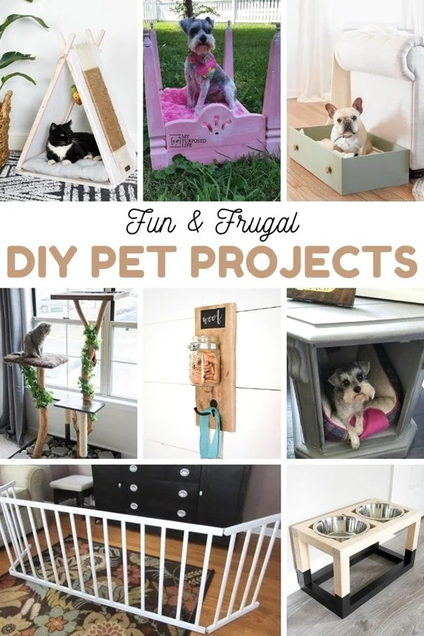 Fun & Frugal DIY Pet Project ideas. More than 20 ideas to inspire you to diy a pet project this weekend. Ideas for cats and dogs of all sizes. Easy projects you can even do in an afternoon or less. #MyRepurposedLife #pets #projects #diy #cats #dogs via @repurposedlife