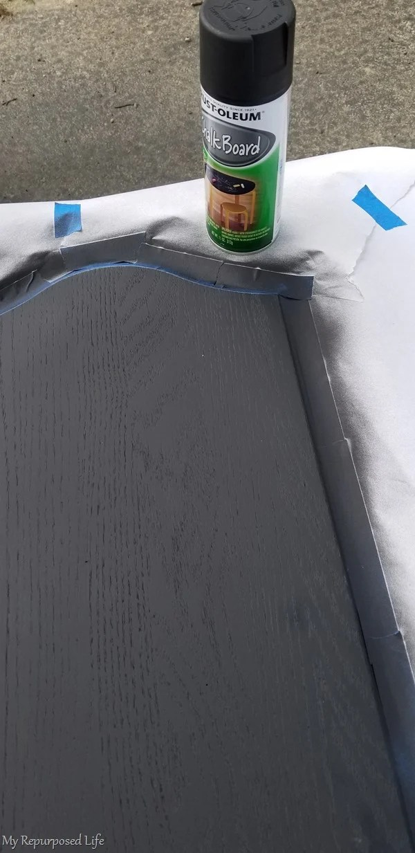 apply several light coats of chalkboard spray paint