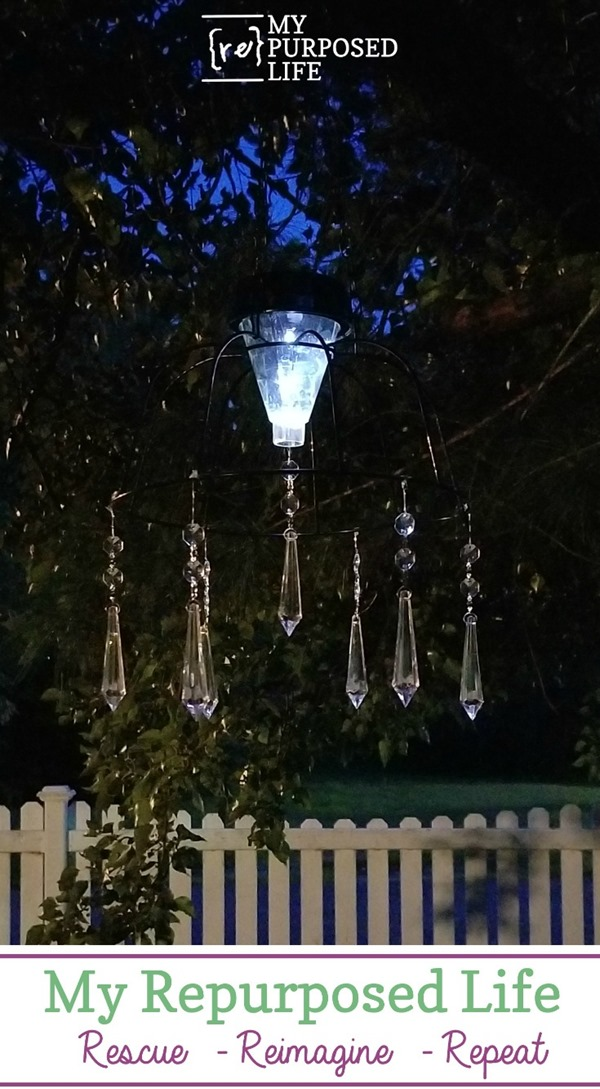 This easy to make basket solar light feature will illuminate your patio and and the glass prisms will add shimmer! quick project! #MyRepurposedLife #easy #dollarstore #project #dollarstoredesignsquad via @repurposedlife