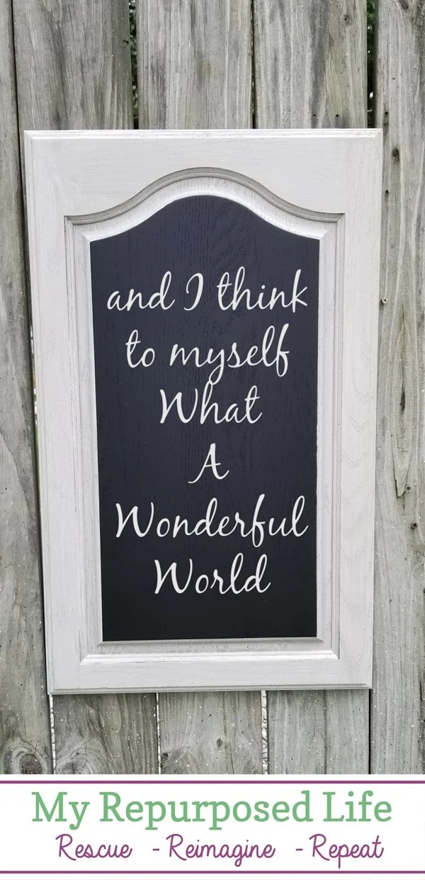 reclaimed cabinet door chalkboard project MyRepurposedLife