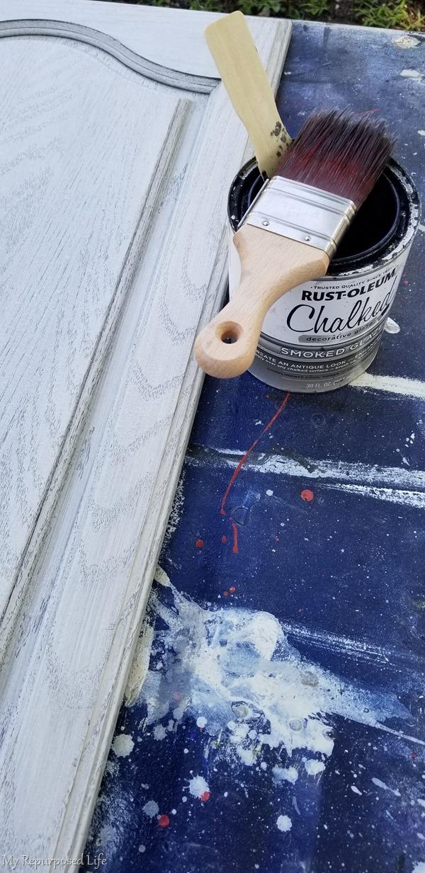 smoked glaze cabinet door chalkboard project