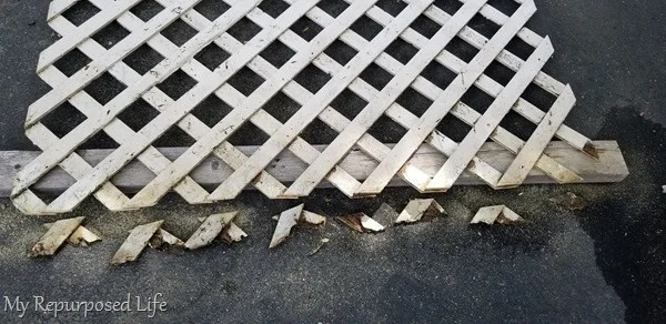 remove broken ends of lattice with saw