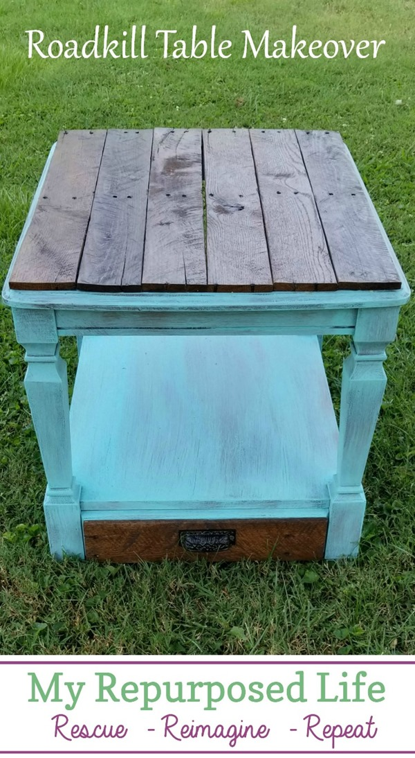 roadkill table makeover with pallet wood MyRepurposedLife