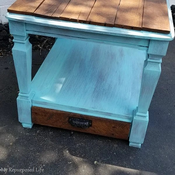 rustic side table with small drawer