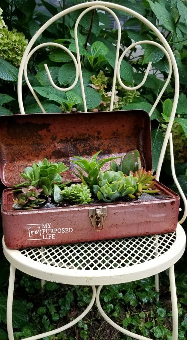 rusty vintage toolbox succulent planter MyRepurposedLife