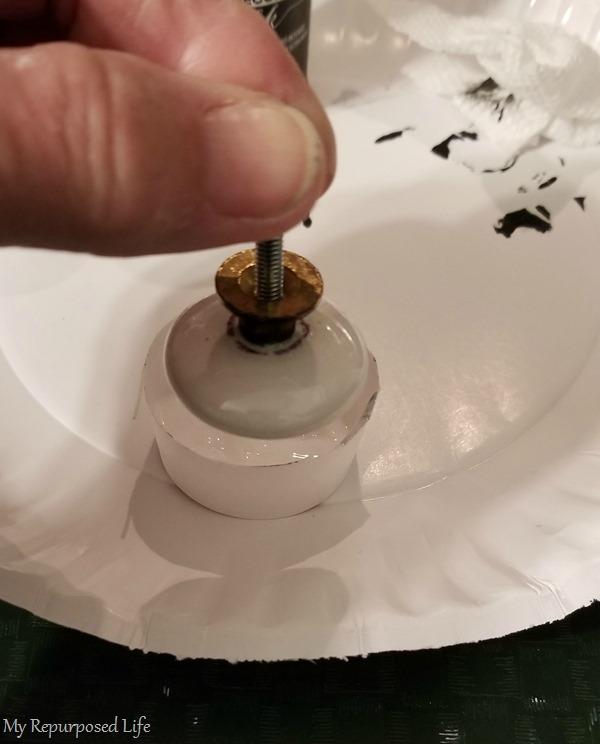 how to decoupage ceramic knobs