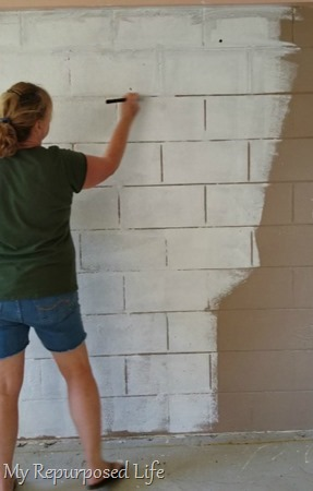 painting cinder block by hand