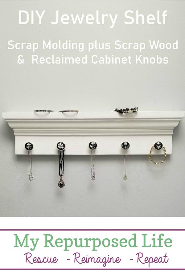 white diy jewelry shelf with decoupage knobs MyRepurposedLife