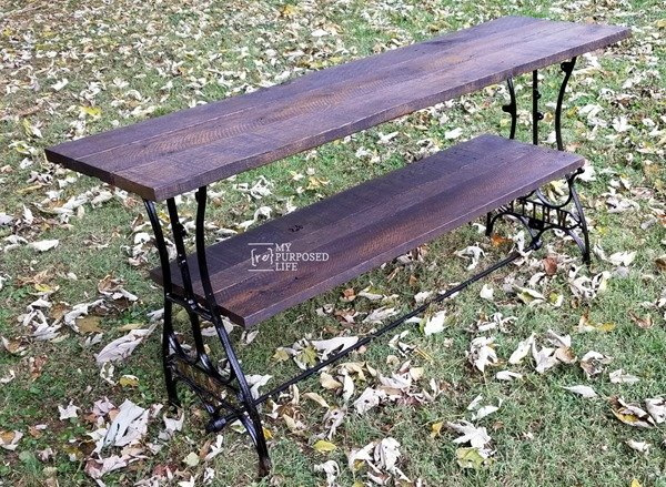 antique sewing machine base made into a t.v. table MyRepurposedLife