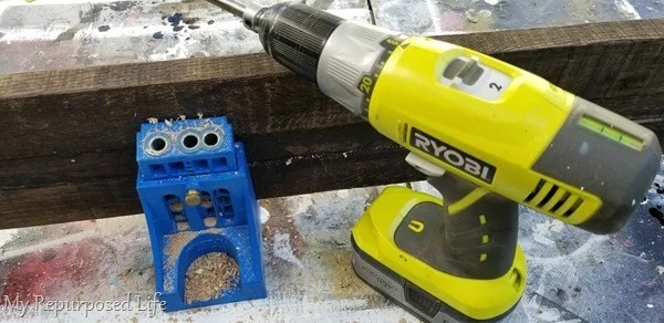 drill kreg jig pocket holes in pallet boards