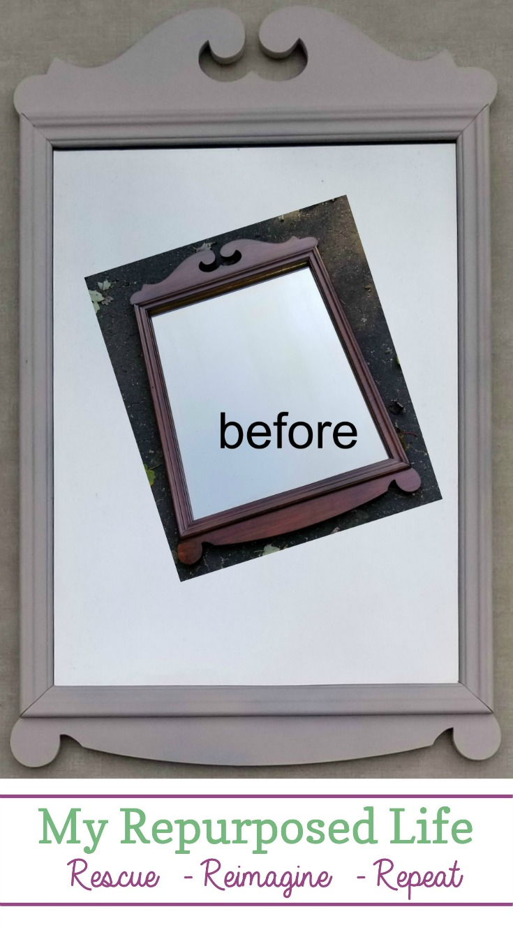 After ten years, it was time for this mirror to get a chance of a new home. The pretty refinished vintage mirror never was chosen the entire time I had it in my booth. Let's try this again! #MyRepurposedLife #mirror #redo #makeover #vintage #mirror via @repurposedlife