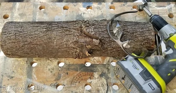 tools for making a horizontal log candle holder