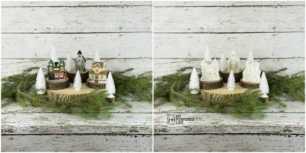 before and after painted Christmas village from the dollar tree MyRepurposedLife