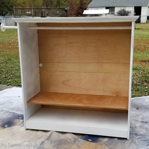 dress up armoire with plywood back
