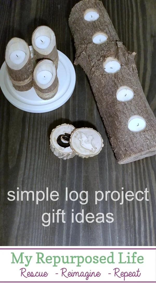 Using tree branches and small logs I made several gifts for friends. Step by step directions so you can make these DIY tree branch projects. #MyRepurposedLife #trees #branch #logs #diy #giftideas via @repurposedlife