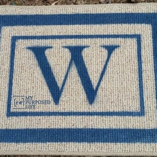 monogrammed spray painted welcome mat