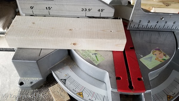 cut 2x4 on miter saw