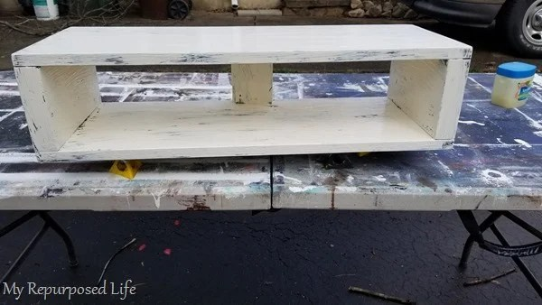 painted rustic floating shelf