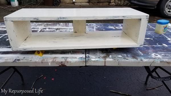 painted rustic floating shelf