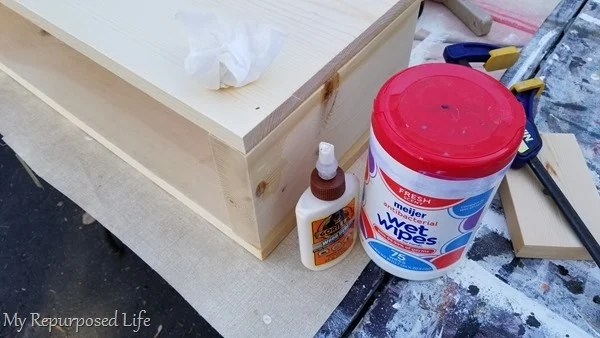 use wet wipes to wipe away wood glue