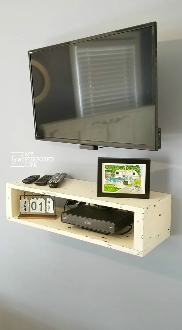 white rustic floating shelf for under tv MyRepurpsoedLife