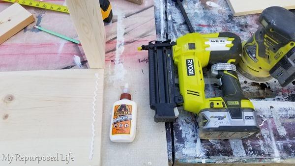 wood glue and nail gun secure boards