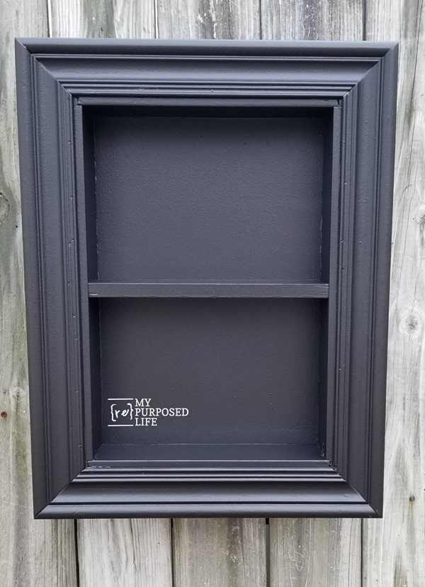 black shadow box made from a drawer MyRepurposedLife