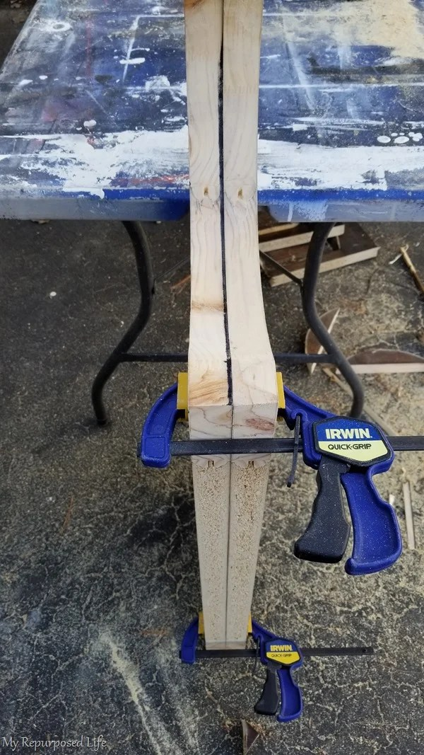 clamp 2 door panels together to sand
