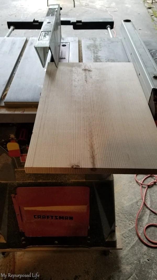 trim 1x12 on table saw
