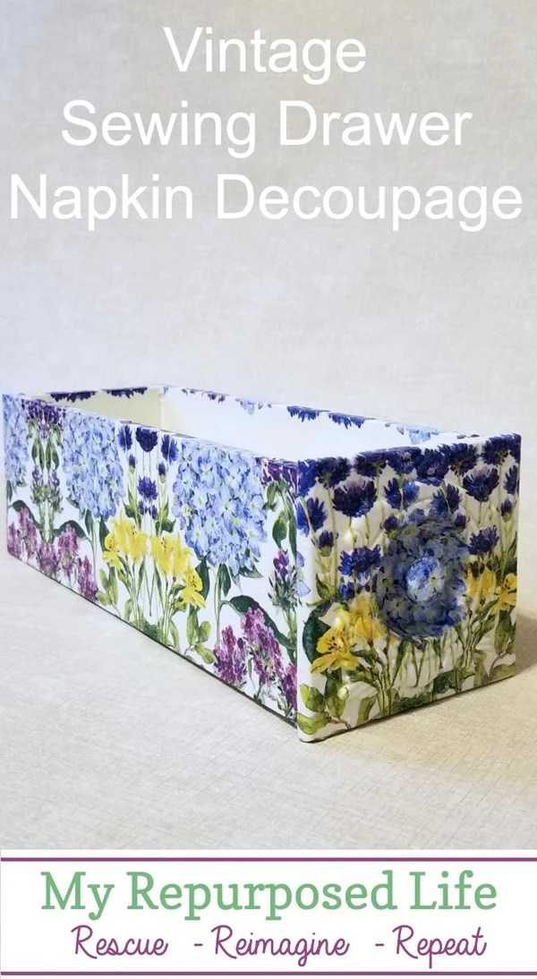 How to decoupage a vintage sewing drawer using hydrangea napkins. Step by step instructions with lots of tips to make your project quick and easy! #MyRepurposedLife #repurposed #decoupage #vintage #sewing #drawer #decoupagewithnapkins via @repurposedlife