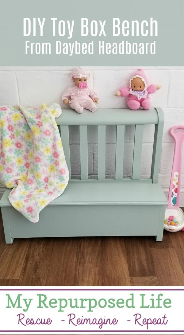 diy toy box bench made from daybed headboard MyRepurposedLife