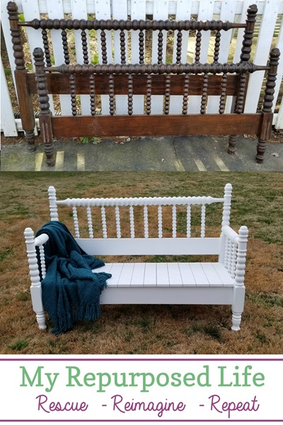 How to make a headboard bench out of a Jenny Lind bed using five basic power tools you may already have. Step by step directions will guide you through this weekend project. #MyRepurposedLife #5toolchallenge #repurposed #furniture #headboard #bench via @repurposedlife