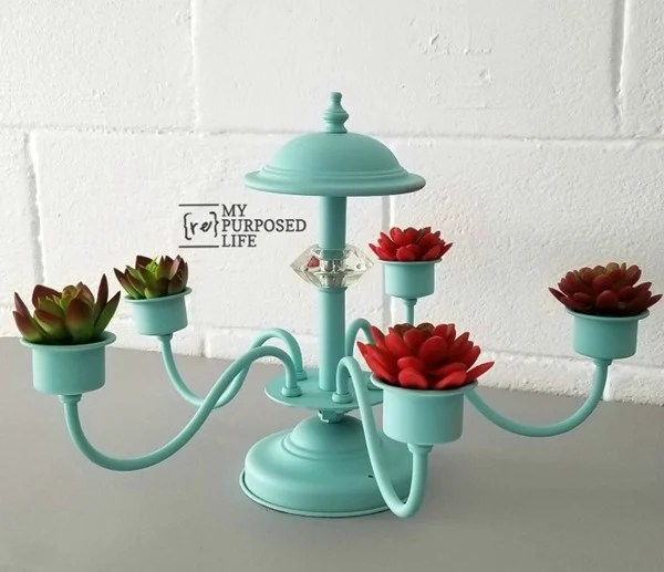 succulent planter with repurposed chandelier My Repurposed Life