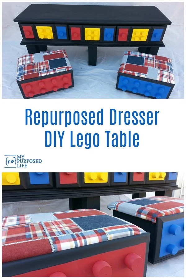How to use an old dresser to make a great new diy lego table with storage and rolling seats. Yes! Repurpose the drawers for the seats. Crib spindles make the perfect nubby lego drawer knobs. #MyRepurposedLife #repurposed #furniture #dresser #kids #storage #solutions #lego via @repurposedlife