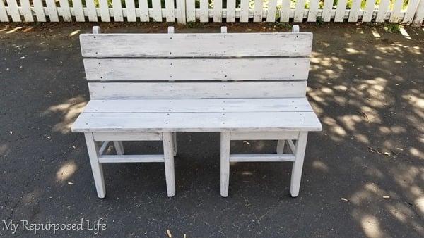 repurposed garden bench painted gray