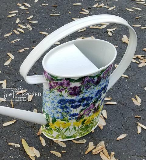 simple white decoupage watering can MyRepurposedLife