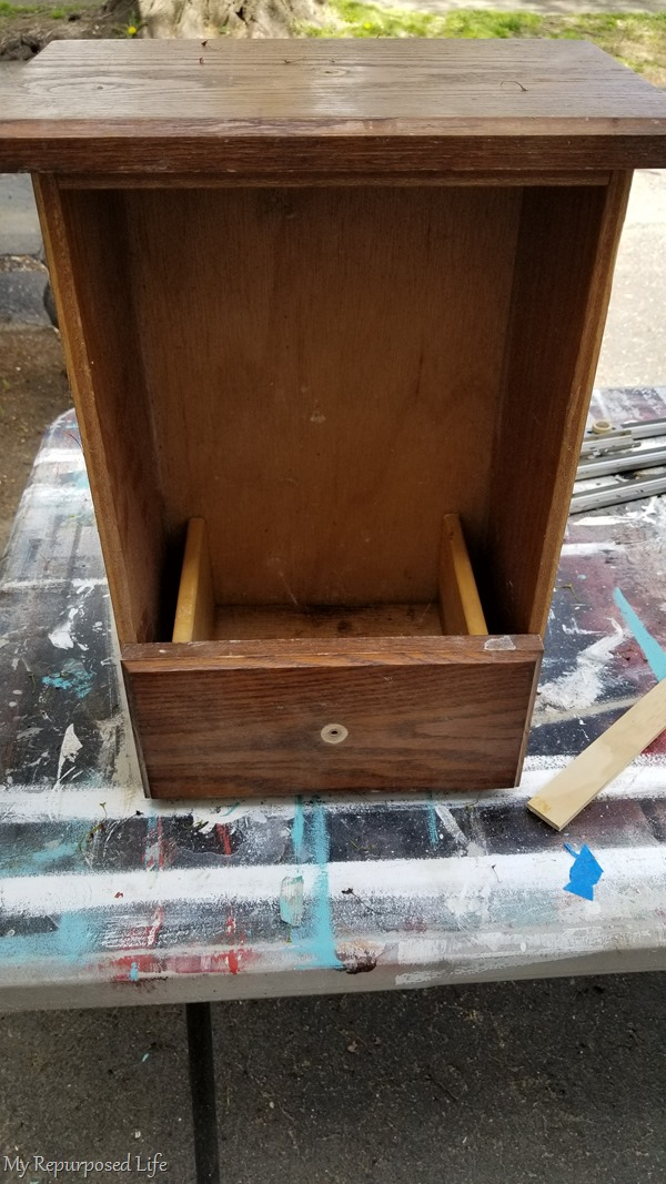 small drawer in large drawer to make wall cabinet