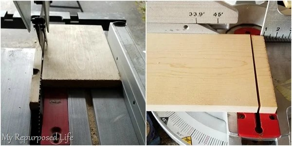 trim scrap board to size on saws