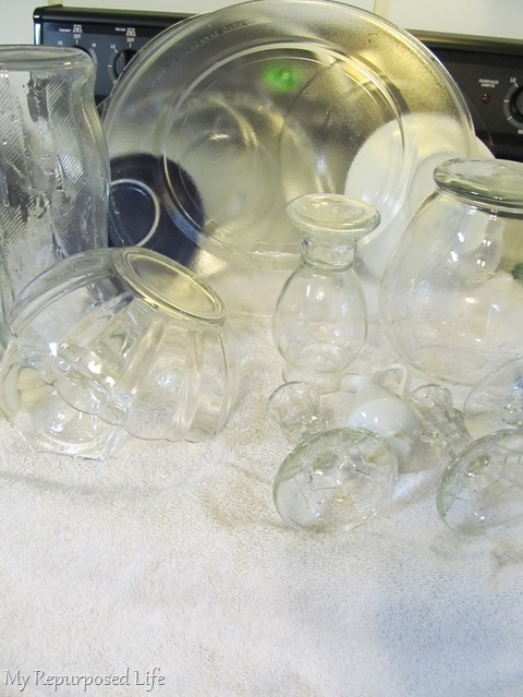 wash and dry repurposed glassware