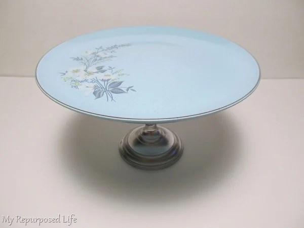 pretty plate stand made with candlestick and thrift store plate