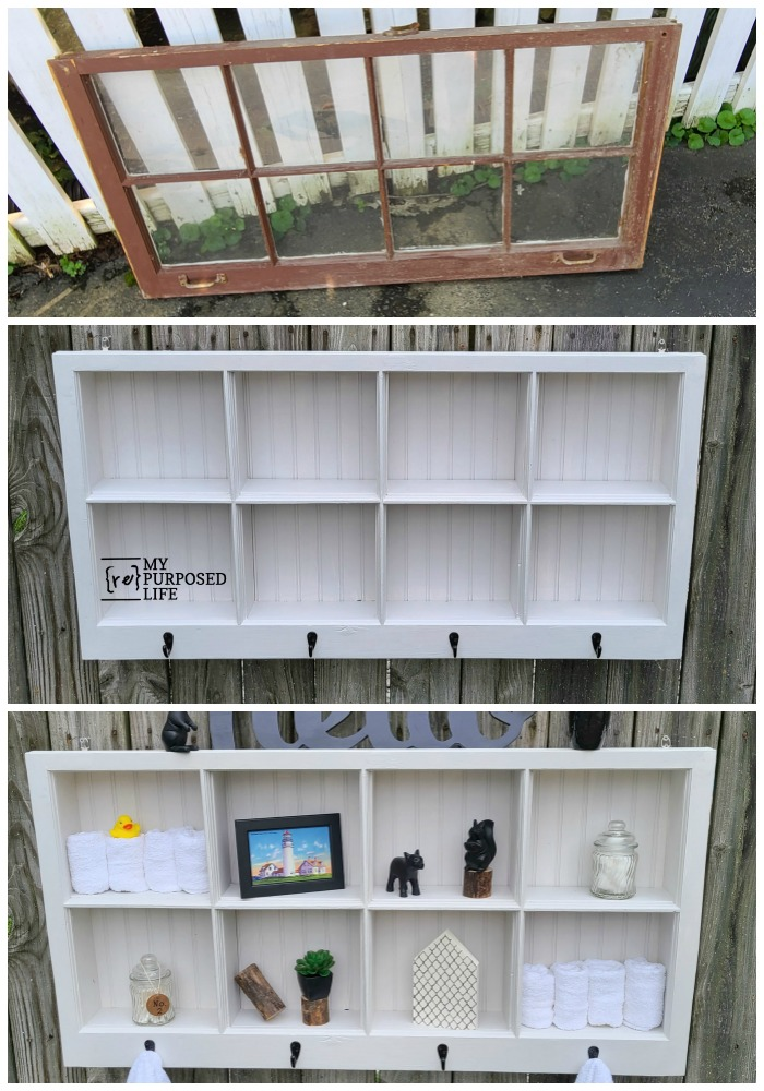 How to make a shadow box hook shelf out of new lumber and an old window. Repurposing a window into a shadow box is creative and clever! I love a great window project, and who can't use another coat rack? #MyRepurposedLife #repurposed #window #shadowbox #shelf #hooks #coatrack via @repurposedlife